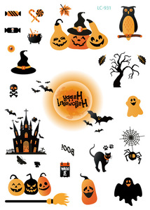 10Pcs Halloween Tattoo Stickers Wacky Cartoon Fun Tattoos For Kid Fake Tatoo Children Body Waterproof Tattoo Sticker Saint's Da