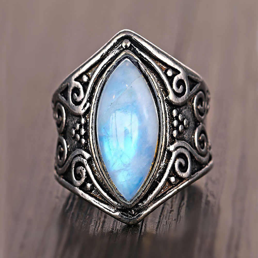 FAMSHIN Fashion Vintage Silver Big Stone Ring For Women Bohemian Wedding Rings Opal Mens Rings Jewelry Gift 2019 NEW