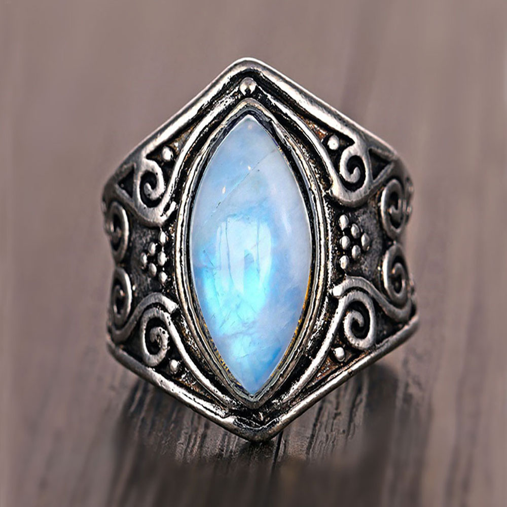 FAMSHIN Fashion Vintage Silver Big Stone Ring For Women
