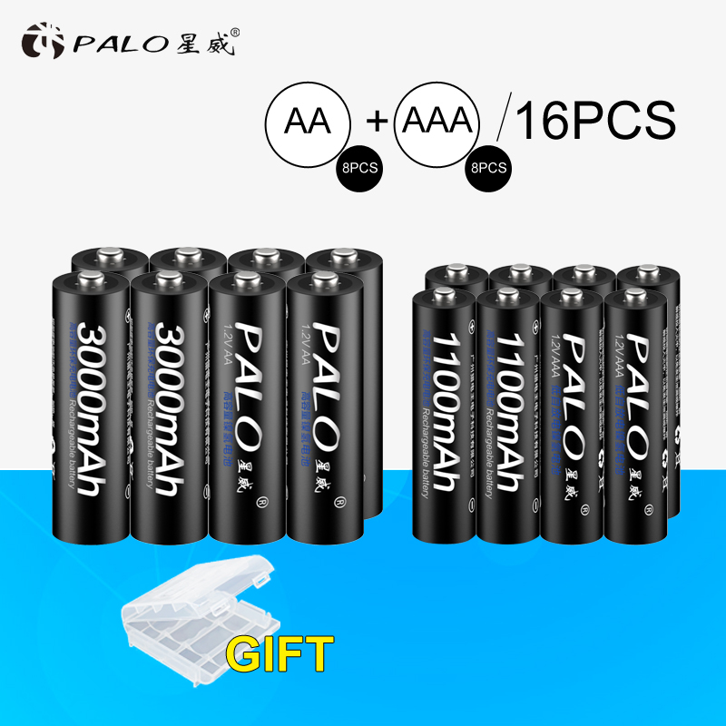 все цены на 8Pcs PALO 1.2V 3000mAh AA Rechargeable Battery and 8Pcs 1100mAh AAA Rechargeable Batteries For Toys Car
