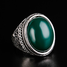 HOT Cheap 2017 Vintage Jewelry Oval Black And Green Enamel Ring For Women Silver Plated Crystal