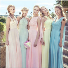 Colorful Long Bridesmaid Dresses Chiffon Wedding Party Dress Floor Length Pleated Semi Formal Party Dress For Wedding 5 Styles