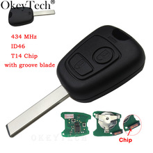 2 buttons 433MHZ For Peugeot 407 307 Transponder For Citroen Remote Key Control Flip Keyless ID46 Chip HU83 407 Blade