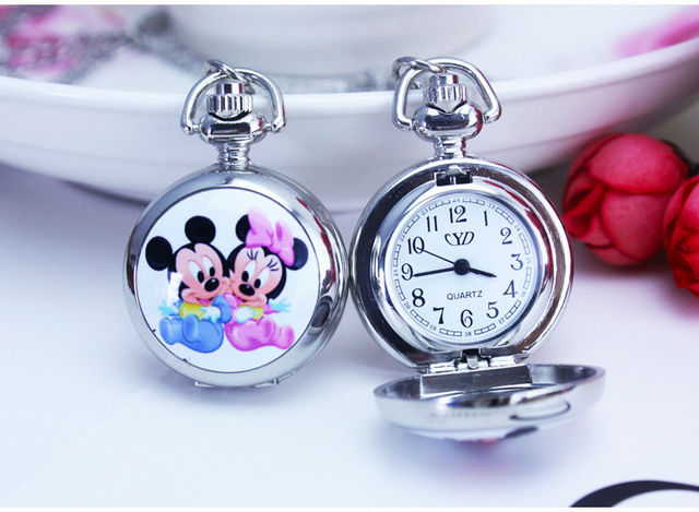 Fashion Silver Cartoon Character Lovely Mouse Mirror Case Quartz Pocket Watch An