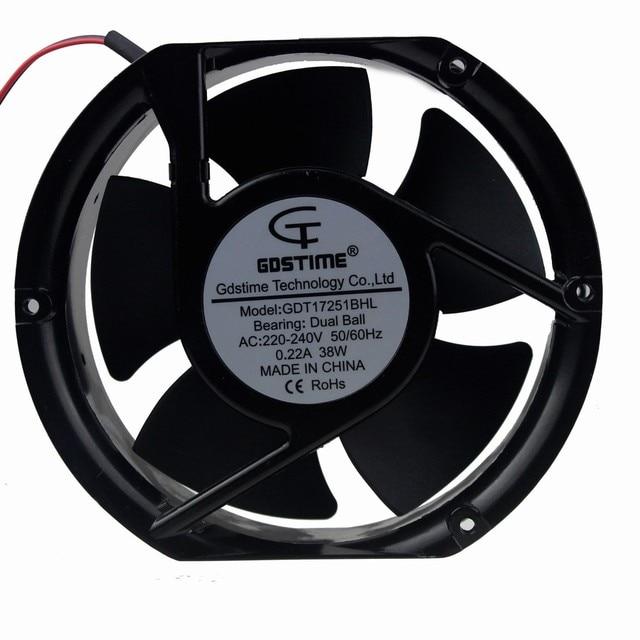 1PCS Gdstime AC 220V 240V Fan 17251 172x172x51mm 17cm Ball Bearing Case Cooling Fan