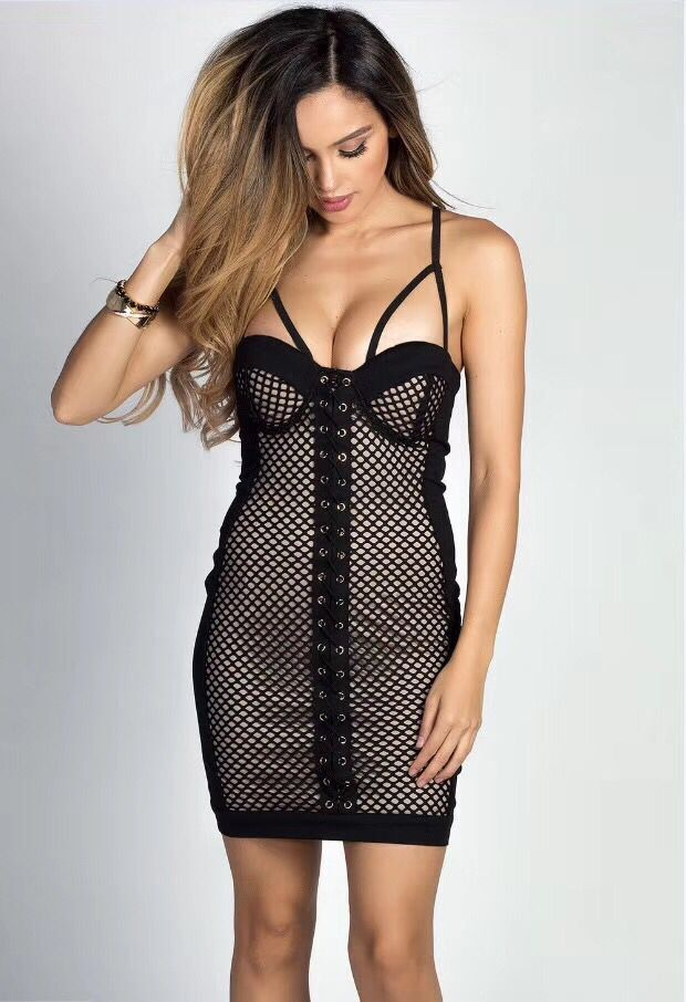 Femmes Sexy robe sangle Mini grille maille rayonne Bandage robe nuit robe de soirée L-493