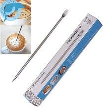 LINSBAYWU, 1 шт., полезная ручка из нержавеющей стали, бариста, капучино, латте, эспрессо, для украшения кофе, художественная, бытовая, кухонная, для кафе, инструмент