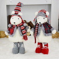 Home Decor Accessories Christmas Dolls New Year Birthday Gifts Plush Bear Toys Christmas Decoration Ornaments Standing Bear Doll