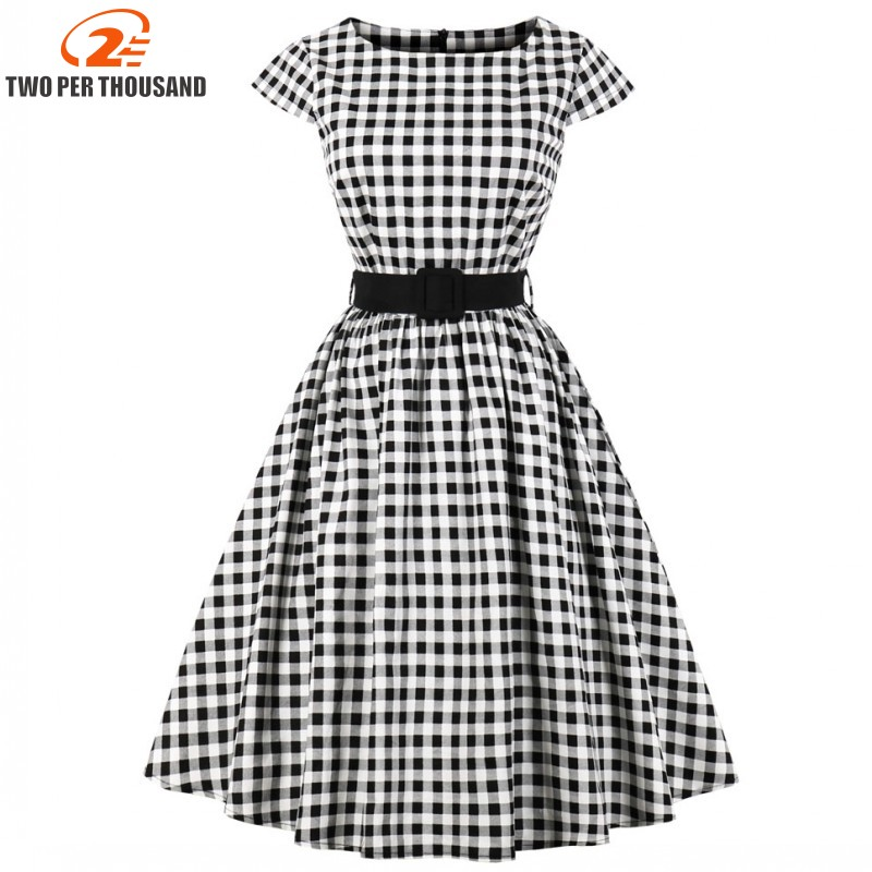 S-4XL Plus Size Women Clothing Summer Retro 50s 60s Plaid Dress Female Rockabilly Party Dresses Vintage Tunic Vestidos(China)