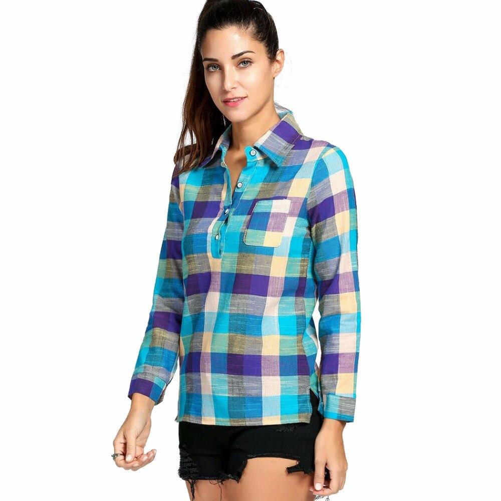Autumn Checker Long Sleeve Women Blouse Feminine Shirt