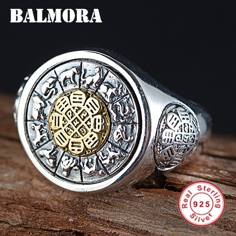 BALMORA 925 Sterling Silver Rotated Twelve Zodiac Open Rings for Women Men Vintage Thai Silver Fashion