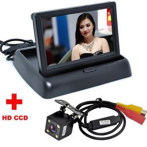 Image 2 - Otomatik park yardımı yeni 4LED gece araba CCD dikiz kamera ile 4.3 inç renkli LCD araç Video katlanabilir monitörlü kamera