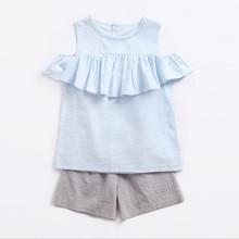 Детская одежда футболка с рюшами и открытыми плечами хлопковые шорты Детский комплект из двух предметов модная повседневная детская одежда