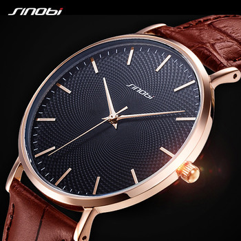 SINOBI New 3D Printed Simple Design Men Watches 316L Steel Leather Waterproof Watch Male Rolexable Imported Quartz Clock Gifts watch male student fashion tide 2018 new simple waterproof leather ultra thin men s watch quartz watch
