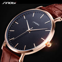 SINOBI New 3D Printed Simple Design Men Watches 316L Steel Leather Waterproof Watch Male Rolexable Imported Quartz Clock Gifts