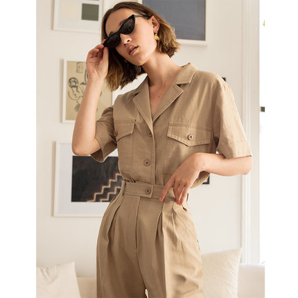Laura's Store//High quality new arrival ladies'suit summer 2018,safari style shirt and trousers set for women free shipping