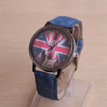 Womens Quartz Watches 1 PC Fashion Analog Wrist Watch Retro Guitar British Flag Pattern Female Watches Brands Wholesale 30M17