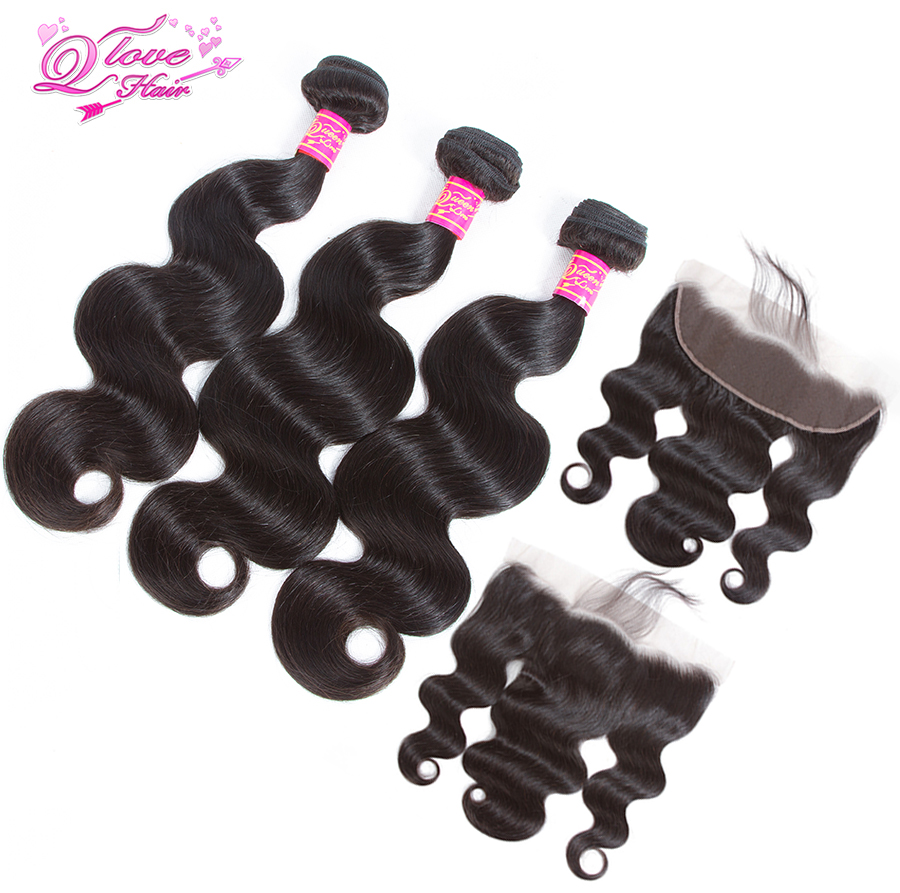 Queen Love Hair 3 Bundles Peruvian Body Wave With 13*4 Lace Frontal Natural Color Remy Hair Free Shipping