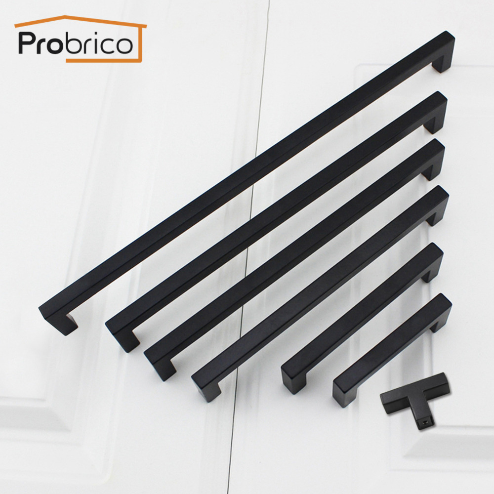 Probrico black cabinet pulls 10mm10mm square bar stainless steel kitchen cabinet handle door knob furniture drawer hardware