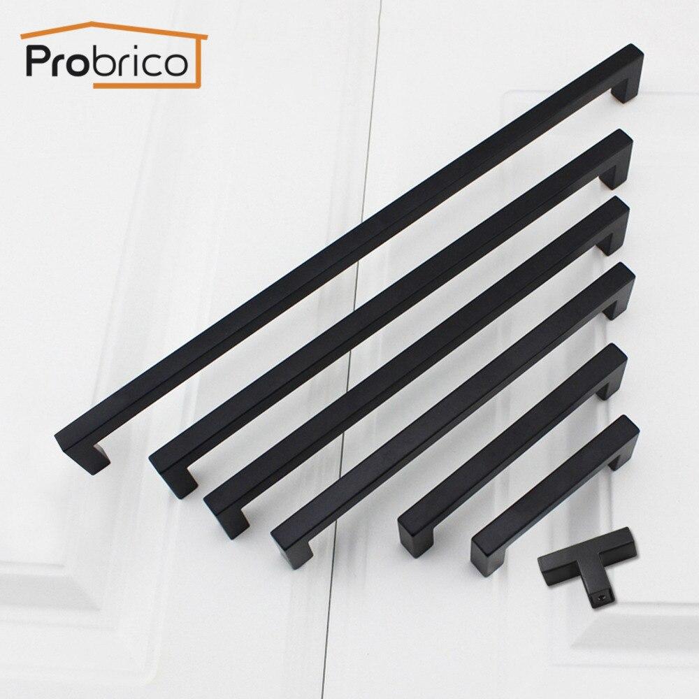 Probrico Black Cabinet Pulls 10mm*10mm Square Bar Stainless Steel Kitchen Cabinet Handle Door Knob Furniture Drawer Hardware
