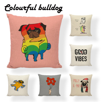 Interesting Animals Yoga Cartoon Prints Embrace Atmosphere Sleepwalking Balloon Flies Away Dogs Cushion Cover Sofa Pillow Case image