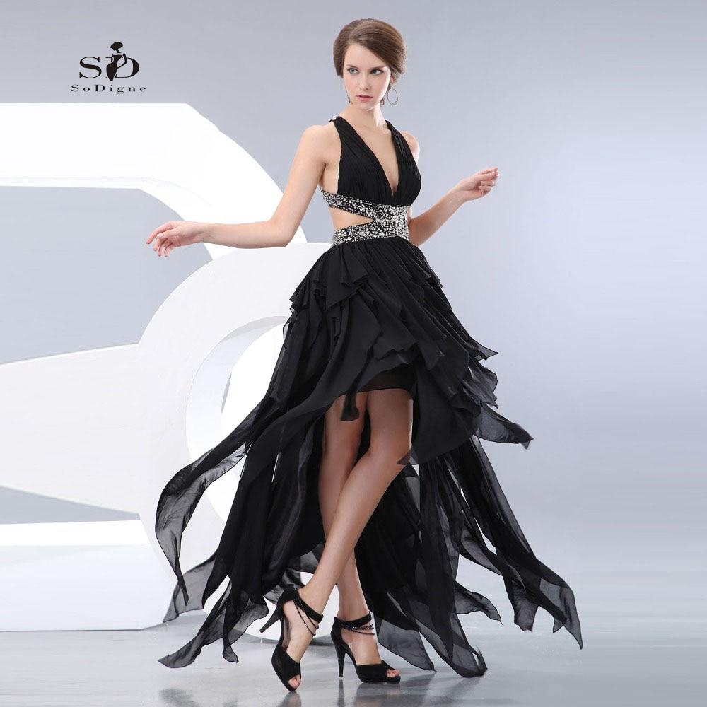buy robe bal de promo black crystals hi low prom graduation dresses v neck