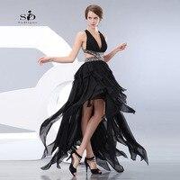 Robe Bal De Promo Black Crystals Hi Low Prom Graduation Dresses V Neck Backless Luxury Evening