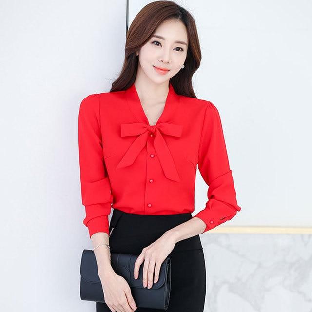 6286f0ec87ac 2018 Printemps Été Coréen Chemisier En Mousseline Chemises Femmes Papillon  Arc cravate Tops Rose Rouge Blanc