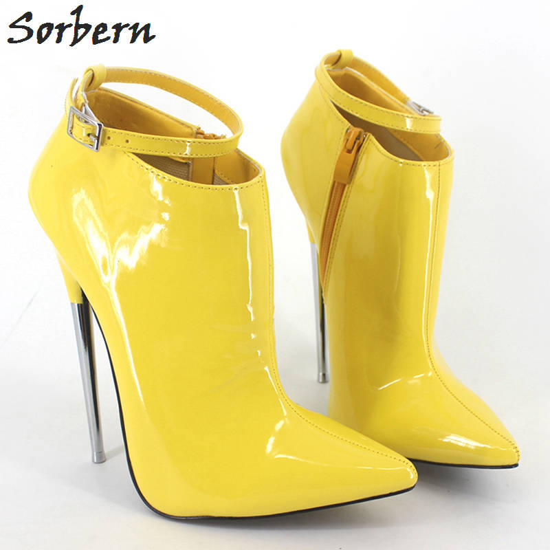 Sorbern 18cm Women Ankle Boots Patent Leather With Metal Heels Buckle Straps Plus Size 2018 Custom Made Color Boots Cosplay цены