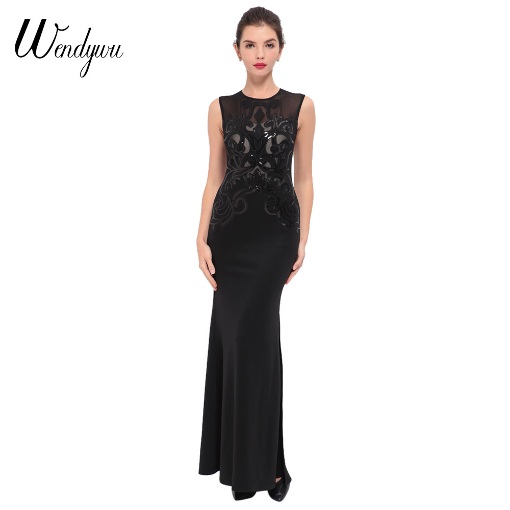 Wendywu Novelty Elegant Sleeveless Side Split Solid Black Mermaid Long Dress for Prom