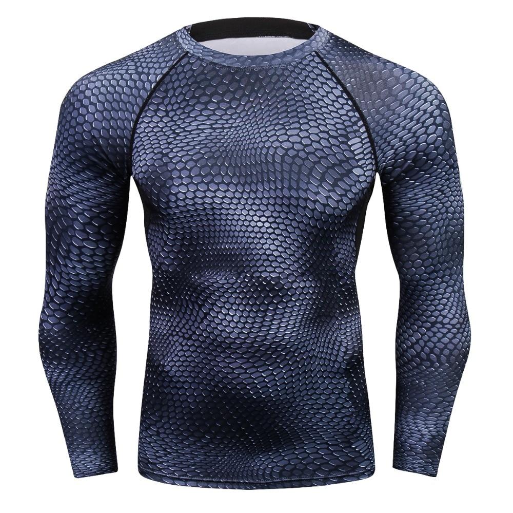 2018 Men 3D Prints Long Sleeves T-shirt Compression