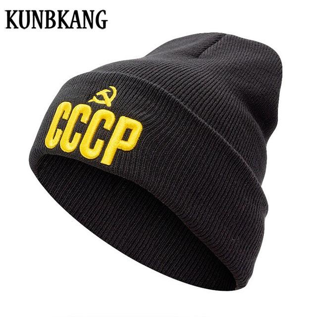 2018 New CCCP USSR Russian Beanies Hat Winter Warm Knitted Cap For Men  Women Autumn Wool bbd04e54421