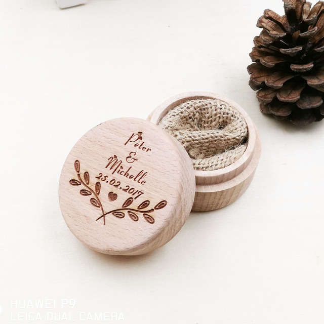 New Design Custom Ring Box Personalized Wedding Valentines Engagement Wooden Bearer