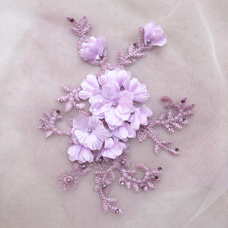 59596da93b1 2 pieces red 3D Flower Lace Applique, lavender Bridal Lace Applique for  Dance Costumes , Bridal Gown Hem Accessories-in Lace from Home & Garden on  ...
