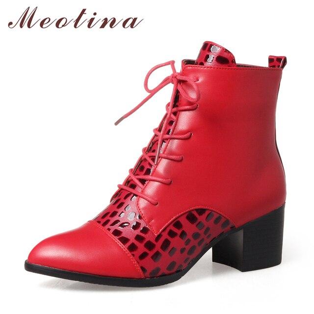 Meotina 2018 الشتاء حذاء من الجلد امرأة الدانتيل يصل أحذية بوت قصيرة كتلة كعب الأحذية حجم كبير 34 43 الأحمر الأبيض الخريف أحذية بوتاس موهير