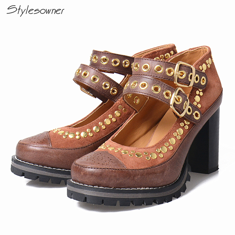 Stylesowner заклепки обувь с пряжкой из кожи Для женщин вырезы смешанные Цвет Гладиатор каблуки обувь толстая подошва туфли обувь для женщин