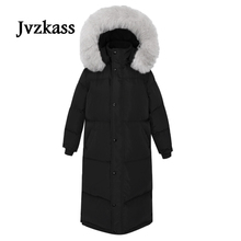 Jvzkass 2018 new big fur collar cotton coat loose fashion warm hooded ladies long thick Z274