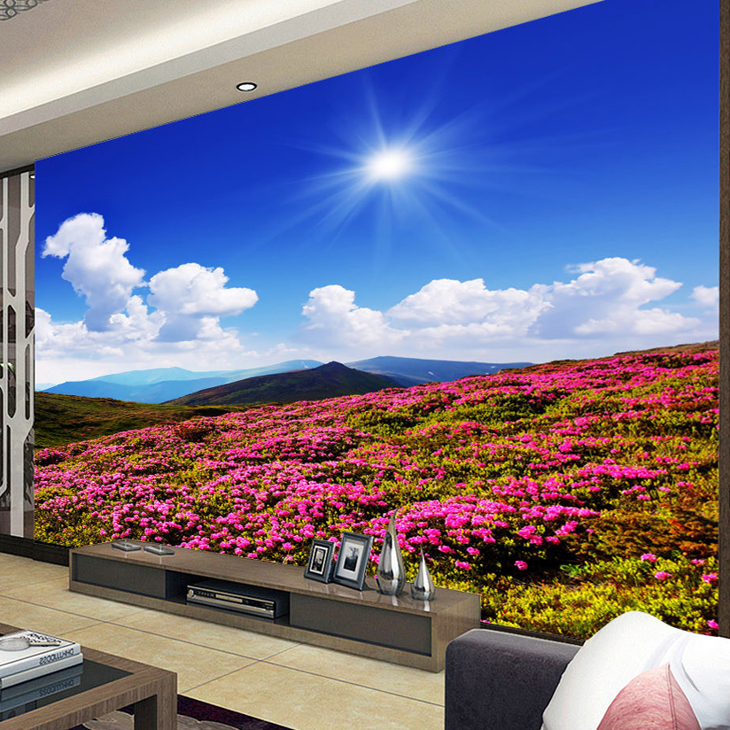 Custom 3D Photo Wallpaper Scenery For Walls Flowers Everywhere On The Mountains Wall Mural Bedding Room Wall Paper TV Background