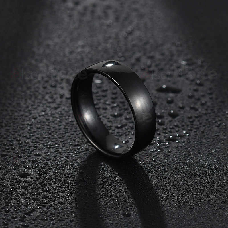 ELSEMODE 6 مللي متر 316L الفولاذ المقاوم للصدأ لامعة مصقول خاتم الرجال النساء الزفاف خاتم الخطوبة خواتم الذهب الوردي الصلب الأسود متعدد الألوان