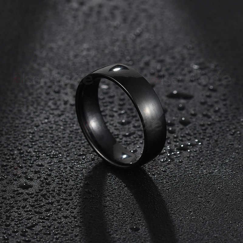 Elsemode 6mm 316l aço inoxidável brilhante polido anel de noivado de casamento anéis de banda rosa ouro prata preto multi cor
