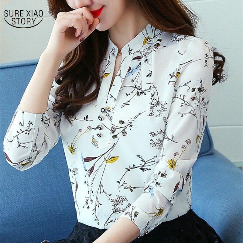 Las mujeres de primavera y otoño de gasa Tops Blusas de gasa Blusas camisas Floral impresión blusa de mujer de manga larga Blusas 90