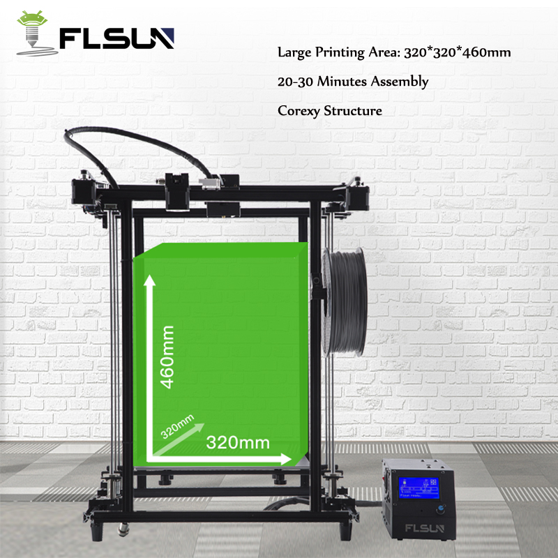 Allemagne entrepôt Flsun 3D Imprimante Grand Impression Taille 320*320*460mm Filament Capteur Corexy Structure En Métal Cadre montage facile