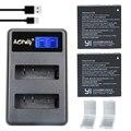 2 unids az16-1 original xiaomi yi 2 4 k batería + lcd usb dual cargador de bateria para xiaoyi 2 4 k xiaomi yi ii cámara de acción accesorios