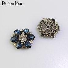 Boutons décoratifs en strass, 5 pièces, bleu Royal, sans tige, accessoires pour vêtements, NK050