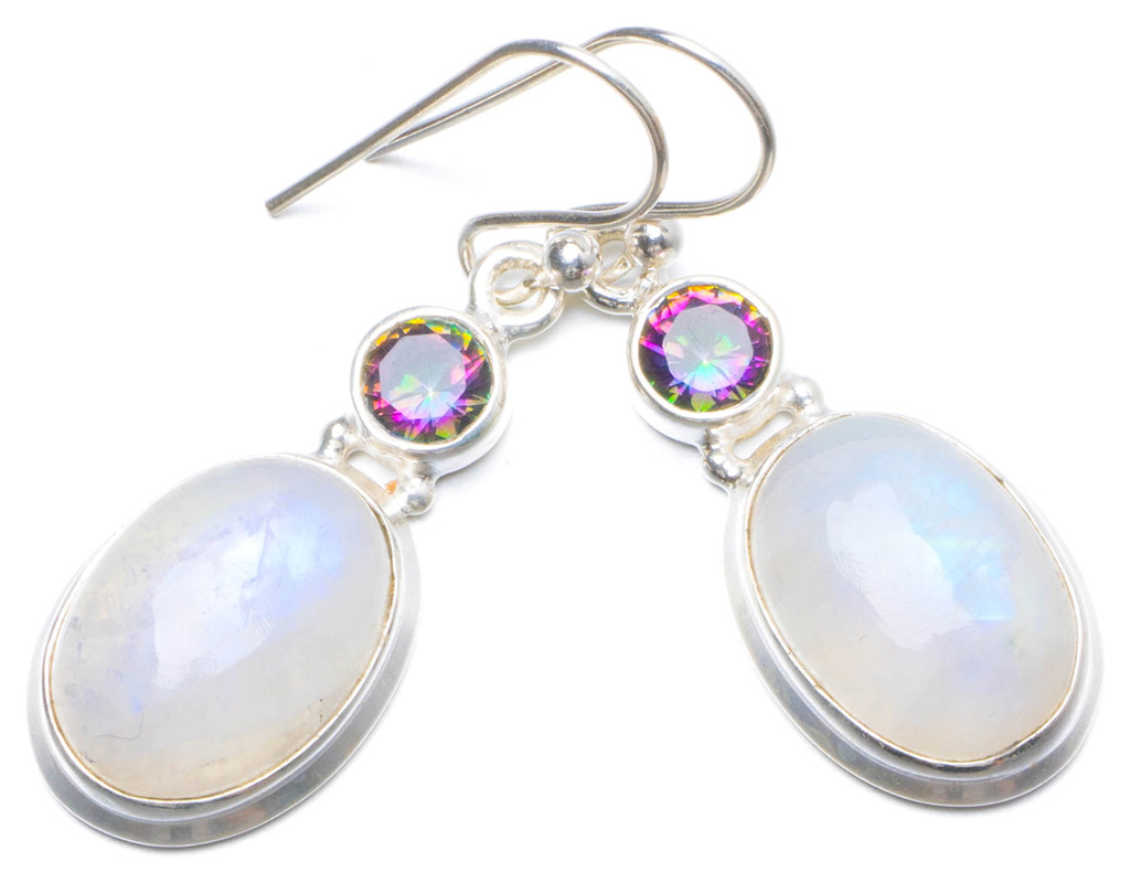 Natural Rainbow Moonstone and Mystical Topaz Handmade Unique 925 Sterling Silver Earrings 1.5