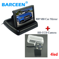 4 LED Hd Ccd Night Vision Car Parking Camera Glass Lens Color Lcd Screen Car Rear