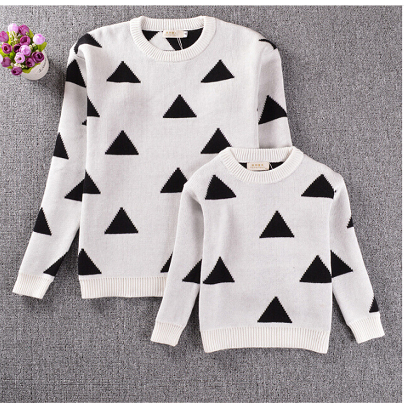 2018 Spring Mother Daughter Triangle Sweaters New High Quality Mother And Daughter Clothes Fashion Sweater Children's Sweater