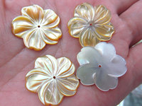 Top quality 50pcs 10 12 15 17 20mm Genuine MOP Shell ,Pearl Shell filigree florial flower Carved yellow white black mixed beads