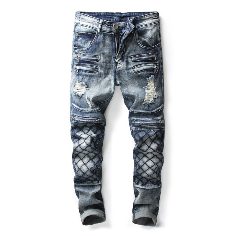 Newsosoo Fashion Mens Ripped Motorcycle Denim Pants With Multi Zippers Slim Fit Straight Distressed Biker Jeans Trousers