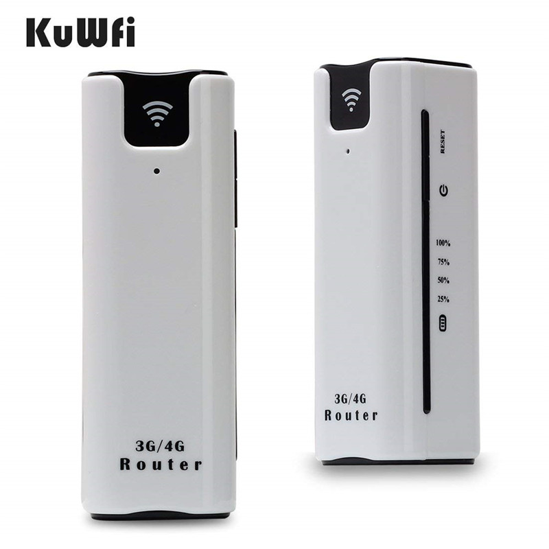 Image 1 - KuWfi 2200mAh 3G Wireless Router Mini Portable WI FI Routers Support 2100MHZ Mobile WiFi Hotspot With Sim Card Slot-in 3G/4G Routers from Computer & Office